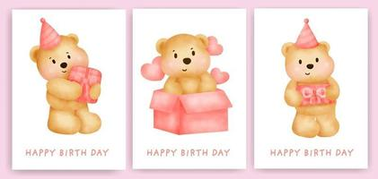 Happy birthday greeting cards set with cute watercolor bear. vector