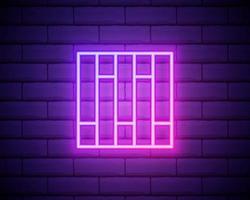 parquet rosa brillante neón ui ux icono. vector de logotipo de signo brillante aislado en la pared de ladrillo