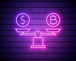 Bitcoin vs dollar on scales neon icon. Elements of bitcoin blockchain set. Simple icon for websites, web design, mobile app, info graphics isolated on brick wall vector
