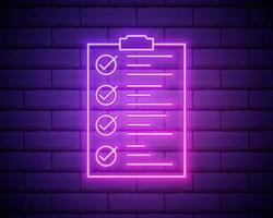 Portapapeles de línea de neón brillante con icono de lista de verificación aislado sobre fondo de pared de ladrillo. símbolo de lista de control. encuesta encuesta o formulario de comentarios del cuestionario. ilustración vectorial aislado en la pared de ladrillo vector
