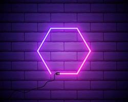 Bright neon hexagon frame for banner or sign isolated on a dark brick wall. Pink and purple light. vector