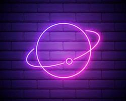 icono de neón de la tierra y la luna. elementos del conjunto espacial. icono simple para sitios web, diseño web, aplicaciones móviles, gráficos de información aislados en la pared de ladrillo vector