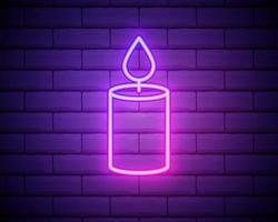Glowing neon line Burning candle icon on brick wall background. Old fashioned lit candle. Cylindrical candle stick with burning flame. Colorful outline concept. Vector Illustration