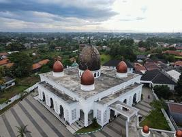Depok, Indonesia 2021- Nurul Mustofa Center Mosque panorama, view of largest mosque in Depok photo