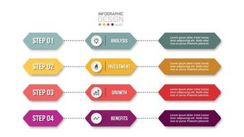 4 step process work flow infographic template. vector