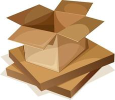 Vector image of a packing box made of corrugated cardboard and kraft paper. EPS 10. Isolated on white background