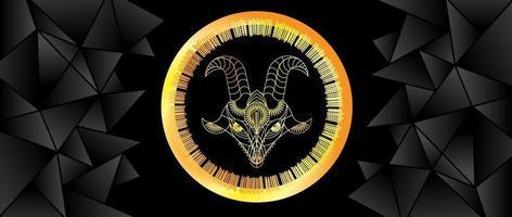 Big horned beast. Goat. Geometric interpretation. Background image of a goat in gold on a black background. Vector