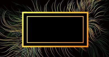Vector background abstract image in trendy black color with multi-colored luminous elements and incredible gradients of wavy lines and a box for your inscription