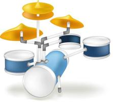 vector image of the drum set, made in cartoon style in soft colors