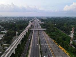 Jakarta, Indonesia 2021- Aerial view of highway intersection in the city of Jakarta photo