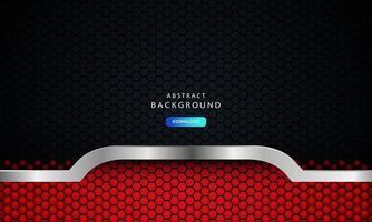 vector de fondo oscuro abstracto rojo, concepto corporativo moderno con efecto plateado