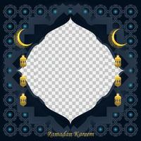 Ramadan kareem background for social media post design template. crescent moon and lantern element. Islamic backgrounds for posters, banners, greeting cards and social media post template. vector