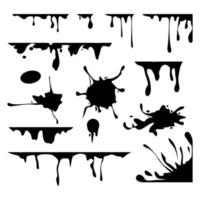 Ink drops vector set. Collection of blots. Dripping dirty splashes
