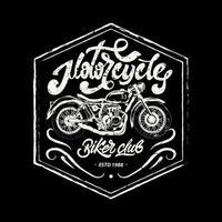 Conjunto de motocicleta en blanco y negro para imprimir en t-shits. motocicleta vintage con letras. jinetes. moto de la vieja escuela. emblemas de motocicletas y motos. motocicleta brooklyn, california vector