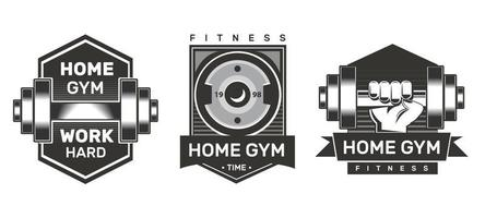 Home gym logo set. Monochrome labels vector