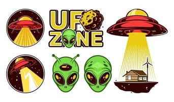 Big Aliens logo set. Ufo Day. Colorful badges with spaceships. Vector design