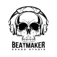Beat maker skull stickers. Hard music patch. Skull and guitar. Vector illustration design