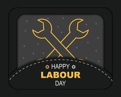 Happy Labour Day Papercut Vector