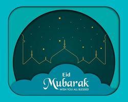 vector de papel de fondo de eid mubarak