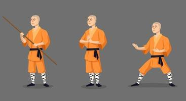monje shaolin en diferentes poses. vector