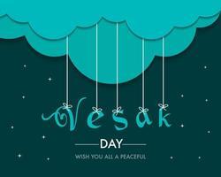 Flat Vesak Day Greeting Template vector
