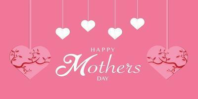 feliz dia de la madre con papel de corazon vector