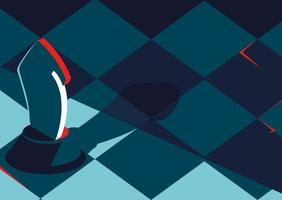 plantilla de banner con tablero de ajedrez y caballero. vector