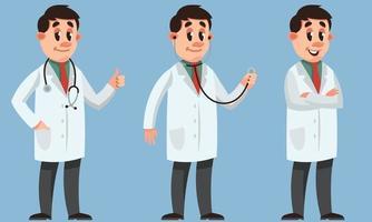 médico masculino en diferentes poses. vector