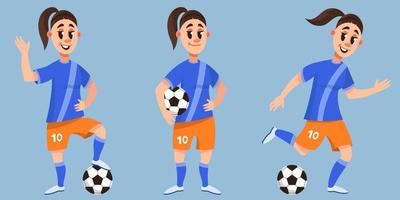 Soccer player in different poses. Female character in cartoon style. vector