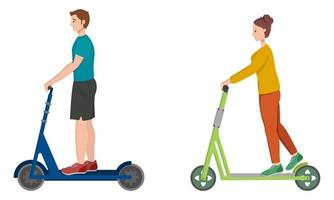 Man and woman riding electric scooters. vector