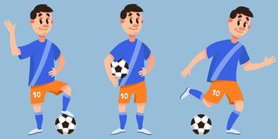 Soccer player in different poses. vector