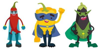 Set of superhero vegetables. Chilli, bell pepper and eggplant in cartoon style. vector