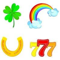 conjunto de símbolos de la suerte. vector