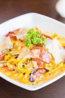 Fettuccine, Italian food on white plate photo