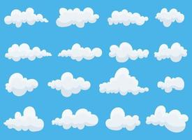 Clouds set vector design illustration isolated on blue background