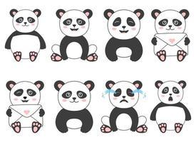 Ilustración de diseño de vector de oso panda aislado sobre fondo blanco