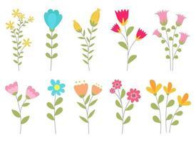 Ilustración de diseño de vector de flor aislada sobre fondo blanco