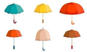 conjunto de diferentes paraguas. vector