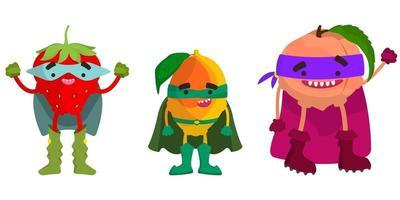 Set of superhero fruits. Strawberry, mango and peach in cartoon style. vector