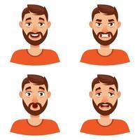 hombre con diferentes emociones. vector
