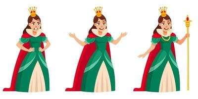 Queen in different poses. vector