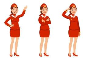 Stewardess in different poses. vector