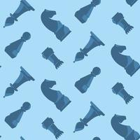 Seamless pattern with blue chess pieces. vector