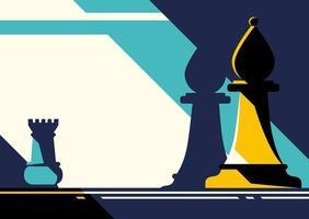 Plantilla de banner abstracto con piezas de ajedrez. vector
