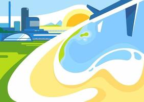 Banner template with city, coast and airplane. vector