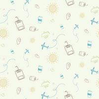 Seamless pattern with airplane, mountain and sun. vector