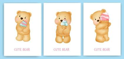 lindo oso de peluche sosteniendo una tarjeta de felicitación de helado en estilo acuarela. vector