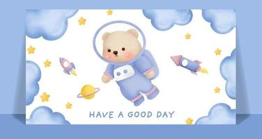 Watercolor cute teddy bear in the sky card. vector