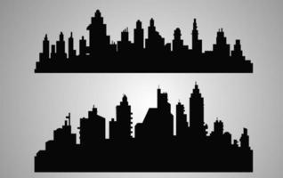 Black city silhouette, landscape vector illustration.