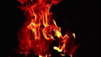 chamas de fogueira em câmera lenta